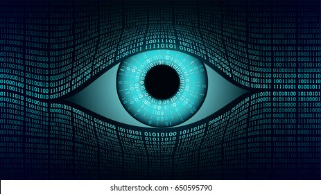 Big brother electronic eye concept, technologies for the global surveillance, security of computer systems and networks, binary background