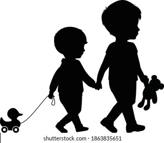 Big brother and little brother holding hands walking with duck and teddy bear