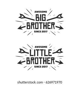 Big brother little brother typography print. Lettering t-shirt design for kid clothes. Vector vintage illustration.