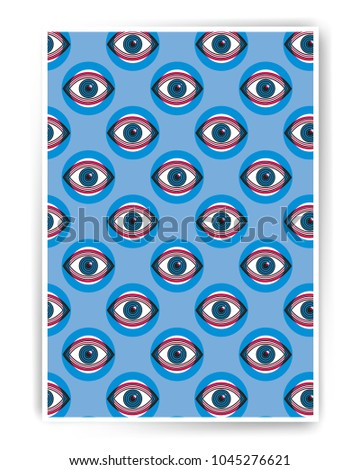 Big brother spy vector abstract poster design with eyes illustration. Human eye vector icon design, geometric style design. Simple flat illustration for cover, advertisement, poster design.