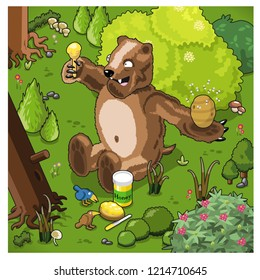 Big brown bear enjoys fresh honey from a beehive in a forest (vector illustration)
