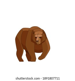 Big brown bear walking. Cartoon, flat style vector illustration isolated on white background.