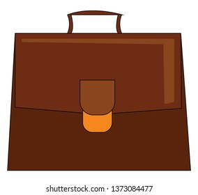 A big brown briefcase with a handle and a golden buckle closure carrying necessary documents vector color drawing or illustration