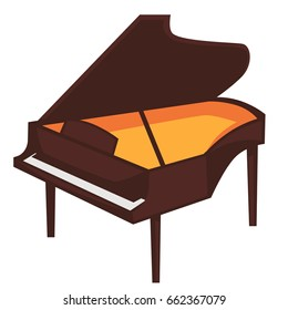 Big brown piano with open top isolated illustration