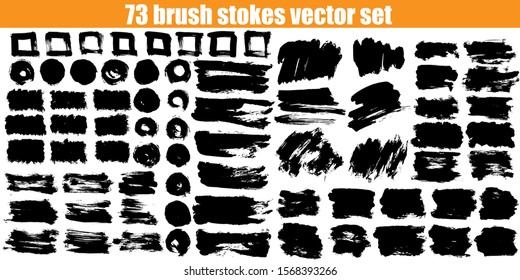 Big brush strokes collection. Hand drawn vector design elements for your art. Unic and original textures