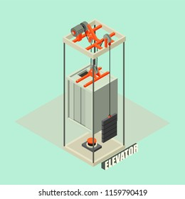 Big building elevator concept background. Isometric illustration of big building elevator vector concept background for web design