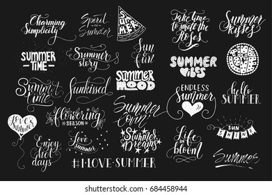 Big bundle of 25 vector hand drawn summer quotes. Handwritten with ink and brush pen. Love summer lettering collection for print, greeting cards and photo overlays.