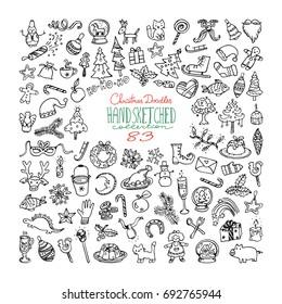 Big bundle of Christmas doodles, hand drawn icons