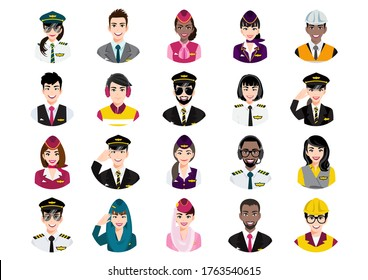 Big bundle of different people avatar. Set of professional airline team portraits. Men and women avatar characters. User pic, face icons for representing person in a video game, Internet forum vector
