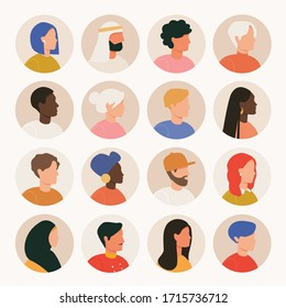 Big bundle of different people avatars. Set of male and female portraits. Men and women avatar characters. Various nationality. Blond, brunet, african american, european, muslim.