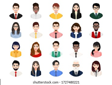 Big bundle of different people avatars. Set of male and female portraits. Men and women avatar characters. User pic, face icons for representing person in a video game, Internet forum, account. Vector