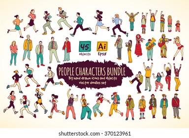 Big bundle people characters doodles color icons. Color vector illustration. EPS8