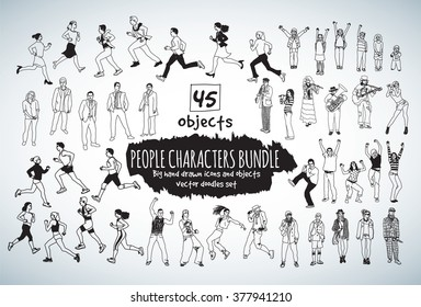 Big bundle people characters doodles black and white icons. Vector illustration. EPS10