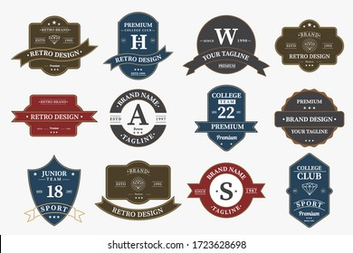 Big bundle set of retro vintage badge logo design. Vector design element, with variety style element, business sign, logos, identity, labels, badges and object, vector eps 10.