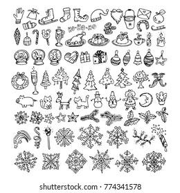 Big bundle of winter doodles, hand drawn elements