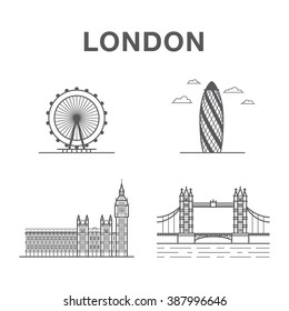 Big bundle of world famous London city landmarks: tower bridge, big ben, London eye and office building.