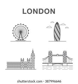 Big bundle of world famous London city landmarks: tower bridge, big ben, London eye and office building.