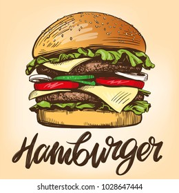 big burger, hamburger hand drawn vector illustration sketch retro style