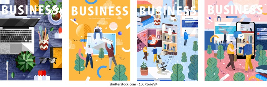 Big business set. Flat cartoon vector illustration: workplace desk; creation by people of concepts, ideas and design; life on social networks and the Internet; businessmen work and meeting in office.