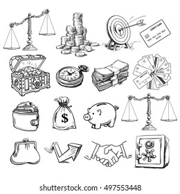 Big business set. Scales, stack of coins, sack of dollars, credit cards, handshake, purse, wallet, piggy bank, target, safe, pocket watch, chest, arrow.. Sketch style vector illustration isolated.