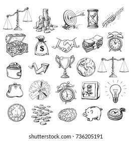 Big business set. Sketch of scales, stack of coins, sack of dollars, handshake, purse, wallet, piggy bank, target, safe, winner cup, alarm clock, arrow, brain, globe, hourglass. Cartoon style vector.