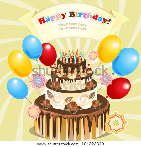 birthday cake with candles and balloons Big Cake Candles Balloons Original Birthday Stock Vector (Royalty  birthday cake with candles and balloons