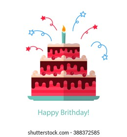 Big cake flat icon isolated white background - Happy Birthday.