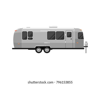 Big camping RV trailer isolated on white icon. Mobile home for country and nature vacation. Side view recreational vehicle van vector illustration in flat syle.