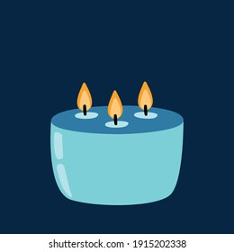 Big candle with candlelight on dark background. Aromatic candle in simple hand drawn style for spa, aromatherapy. Christmas, birthday, party, holiday illustration card, banner
