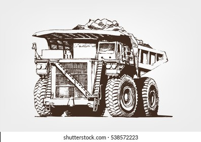 Big car. Large Industrial Mining Dump Truck. Sketch giant machine