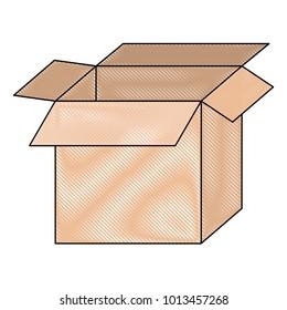 big cardboard box opened in colored crayon silhouette