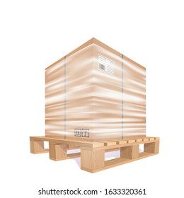 Big Cardboard Box Wrapped Strech Transparent Plastic Film On The Wooden Pallet. 3d Vector Photo Realistic Illustration Isolated On White Background