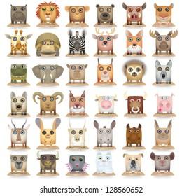 Big carrtoon animals icon set