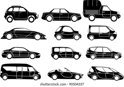 Big cars collection - vector