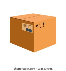 Big carton box cartoon illustration. Cube shaped package with keep dry, fragile and side up symbols. Cardboard box concept. Vector illustration can be used for topics like delivery, shipping, parcel