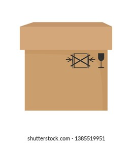 Big carton box cartoon illustration. Brown paper package with fragile symbols. Cardboard box concept. Vector illustration can be used for topics like delivery, shipping, parcel