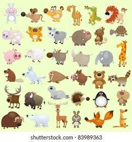 Big cartoon animal set