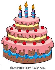 Big cartoon birthday cake - vector illustration.