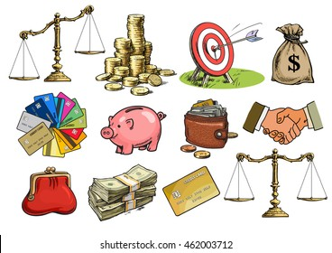 Big cartoon business finance money set. Scales balanced unbalanced, stack of coins, sack of dollars, credit cards, handshake, purse, wallet, piggy bank Sketch Hand drawn vector illustration isolated.
