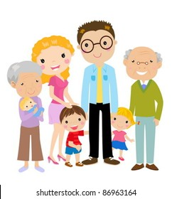 Big cartoon family with parents, children and grandparents, vector illustration