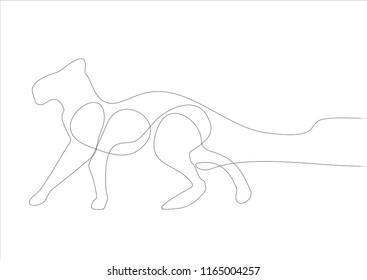Big cat. Continuous line