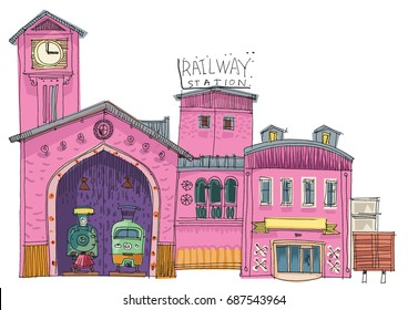 Big central railway station - cartoon. Vector