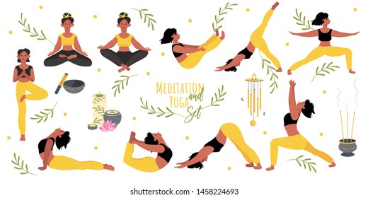 Big character set practicing yoga asanas and meditation. A young girl leads a healthy lifestyle. Incense, Tibetan singing bowl, candles. Bright vector illustration in cartoon style.