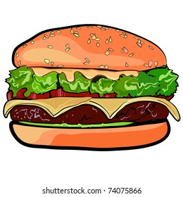 The big cheeseburger. High-calorie meal. Sandwich from fastfood. A sandwich with a stuffing. A burger with meat, with cheese and vegetables.