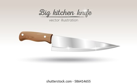 Big chef kitchen knife with wooden handle. Cooking utensils. Realistic vector illustration