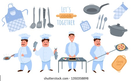 Big chef set.Cook fried steak, puts a knife over the fish, puts pizza in the oven, Chinese chef wraps sushi,rolls. Let's cook together!Big set of kitchen utensils.Vector illustration isolated on white