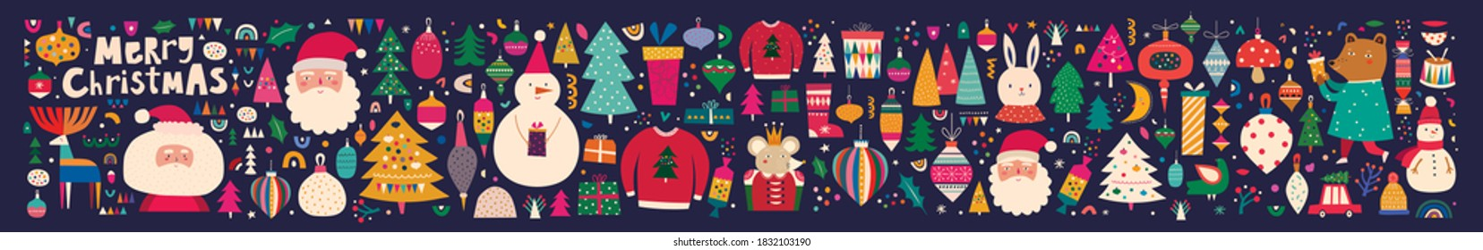 Big Christmas collection with traditional Christmas symbols and decorative elements. Christmas holiday pattern