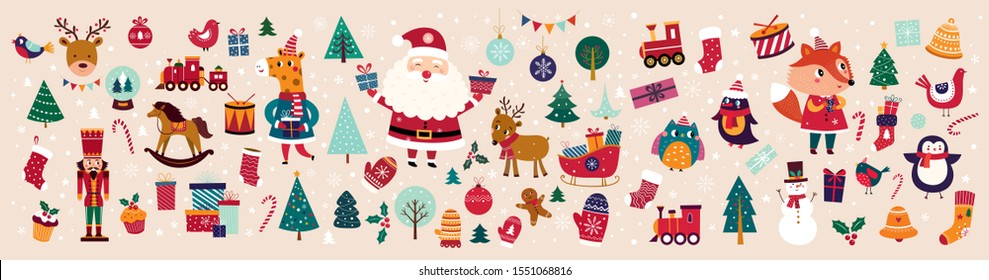 Big Christmas collection in vintage style with traditional Christmas and New Year elements