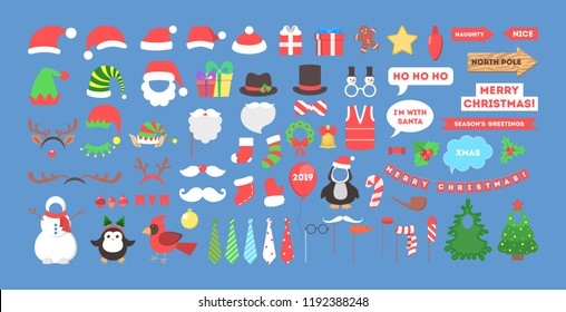 Big christmas party props for photobooth set. Collection of hat, mask and other decoration for fun. Flat vector illustration