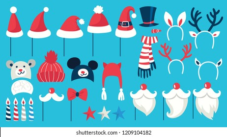 Big christmas party props for photobooth set. Collection of hat, mask and other decoration for fun. Santa hat and moustache. Flat vector illustration